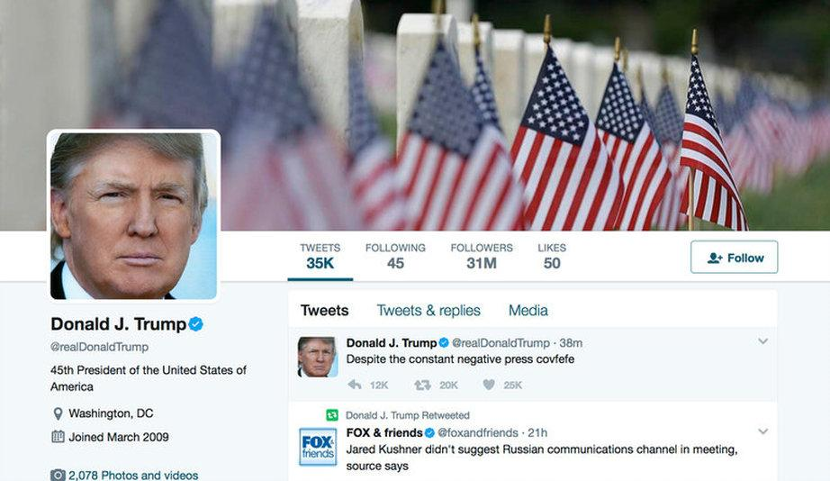 "Photo via The New York Times: ""An image of President Trump's Twitter account. 'Despite the constant negative press covfefe,' the post began, at 12:06 a.m. And there it ended."""